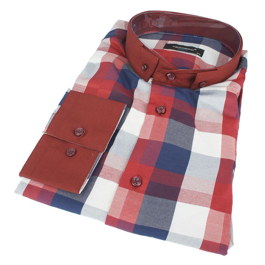 Хлопковая мужская рубашка в крупную клетку размер ХXL 0250 С