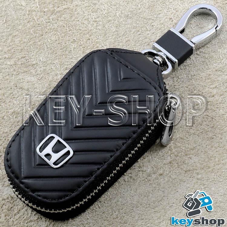 Ключниця кишенькова (шкіряна, чорна, з тисненням, на блискавці, з карабіном) логотип авто Honda (Хонда)
