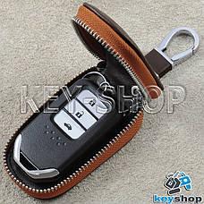 Ключница карманная (кожаная, коричневая, с тиснением, на молнии, с карабином) логотип авто Honda (Хонда) , фото 2