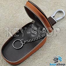 Ключниця кишенькова (шкіряна, коричнева, з тисненням, на блискавці, з карабіном) логотип авто Honda (Хонда), фото 3