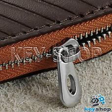 Ключниця кишенькова (шкіряна, коричнева, з тисненням, на блискавці, з карабіном) логотип авто Honda (Хонда), фото 2