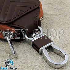 Ключница карманная (кожаная, коричневая, с тиснением, на молнии, с карабином) логотип авто Honda (Хонда) , фото 3