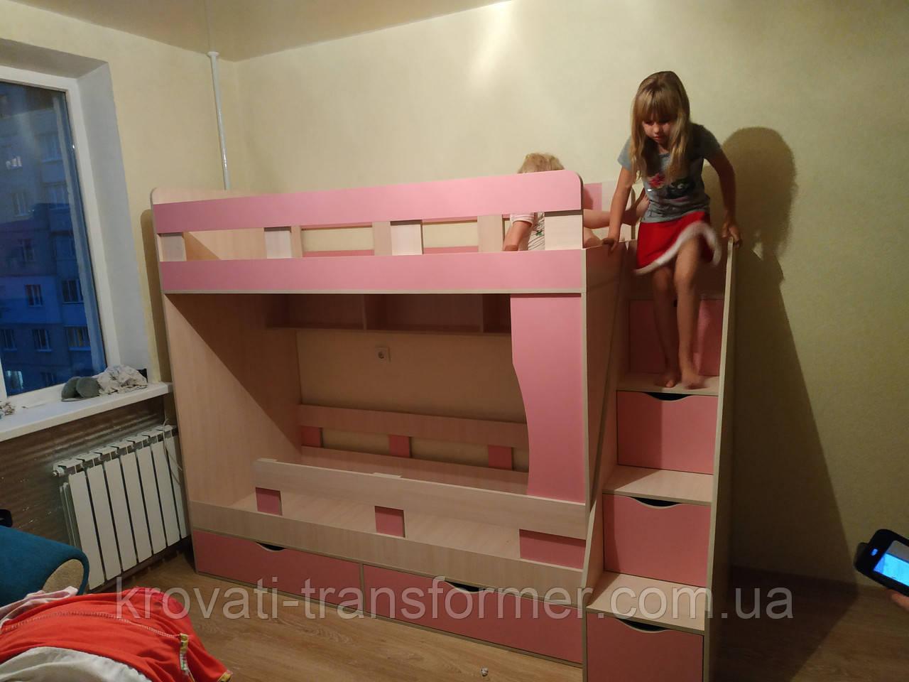 """Двухъярусная кровать  """"Модерн с боковой лестницей. Премиум"""". Дуб молочный +розовый"""