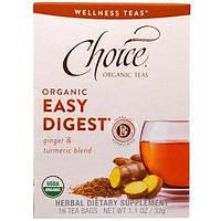 """Choice Organic Teas, """"Органический легкоусваивающийся"""", легкоусваивающийся органический чай с имбирем и куркумой, без кофеина, 16 чайных пакетиков,"""