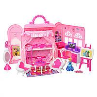 Игровой домик для куклы с мебелью в сумочке