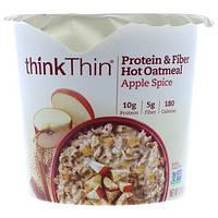 ThinkThin, Protein & Fiber Hot Oatmeal, Apple Spice, 1.76 oz Bowl (50g)