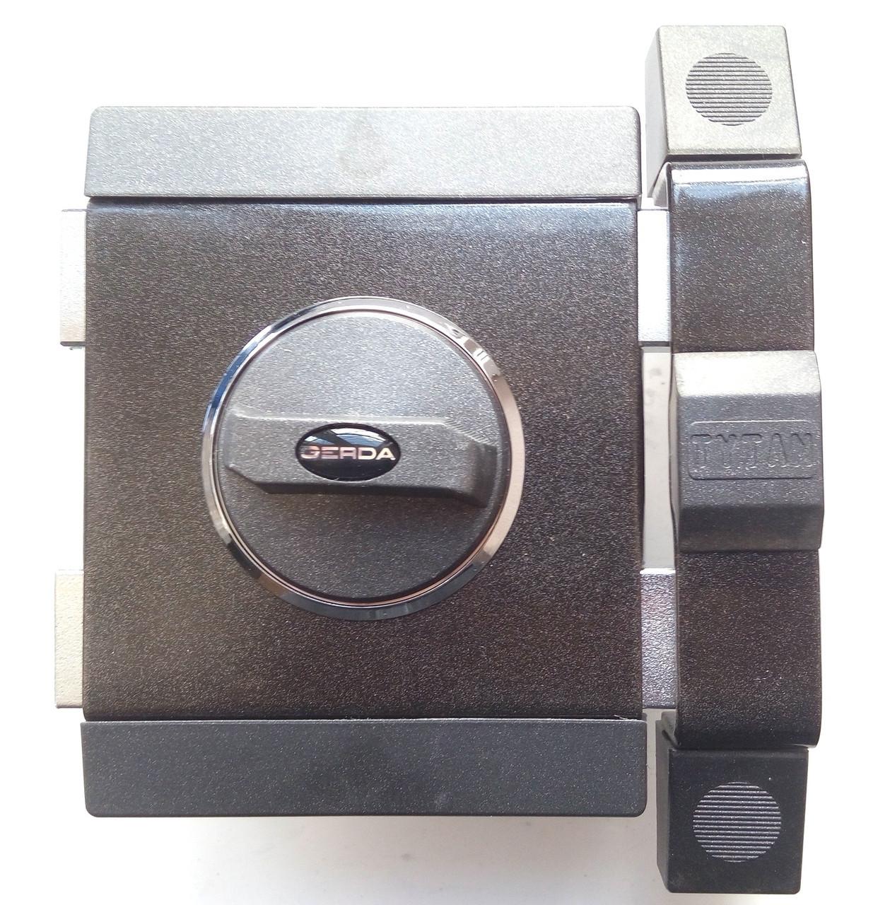 Замок накладной Gerda Tytan ZX графит короткий ключ (5 кл.) без планок (Польша), фото 1