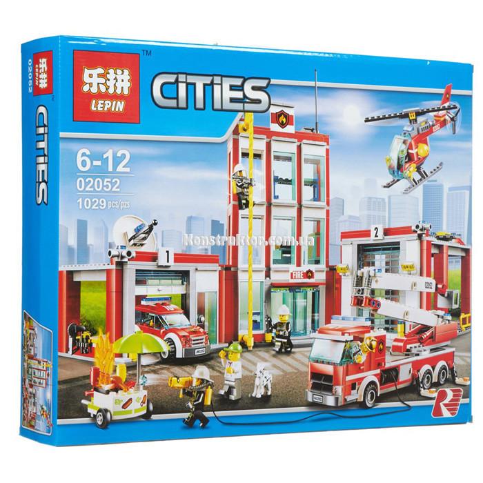 """Конструктор Lepin 02052 """"Пожарная часть"""" Сити, 1029 деталей. Аналог LEGO City 60110"""