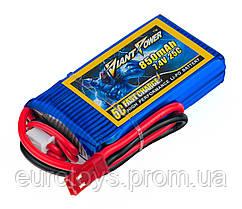 Аккумулятор Giant Power Li-Pol 850mAh 7.4V 2S 25C 13x29x55мм JST