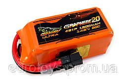 Аккумулятор Dinogy ULTRA G2.0 Li-Pol 1300mAh 14.8V 4S 80C XT60 70x34x33мм