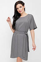 """Красивое однотонное приталенное платье средней длины с пояском и короткими рукавами """"Daniela"""" серое"""