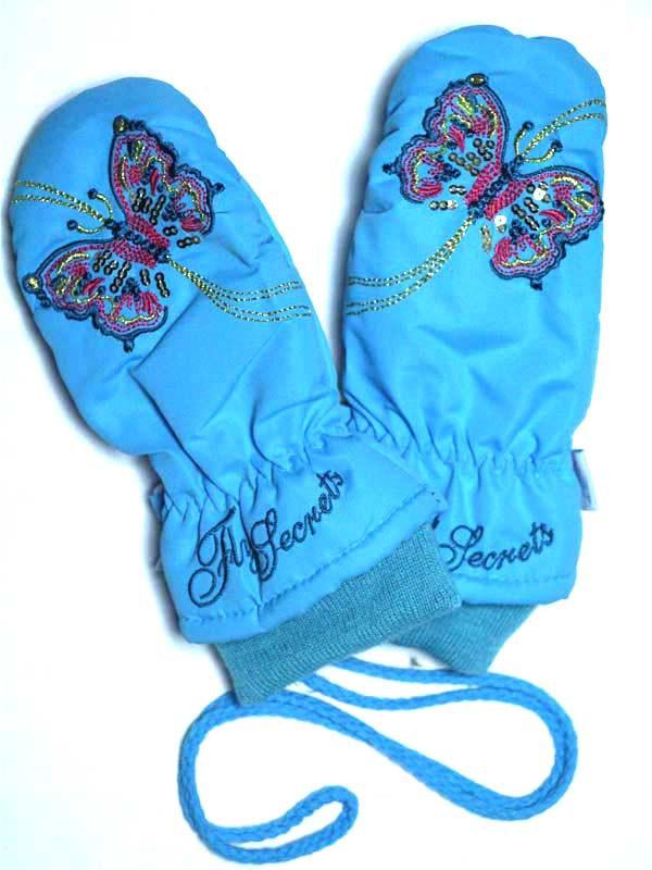 Детские зимние непромокаемые варежки для девочки голубые