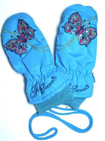 Детские зимние непромокаемые варежки для девочки голубые, фото 2