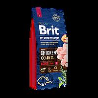 Сухой корм 15 кг для взрослых собак крупных пород Брит Премиум / Adult L Brit Premium