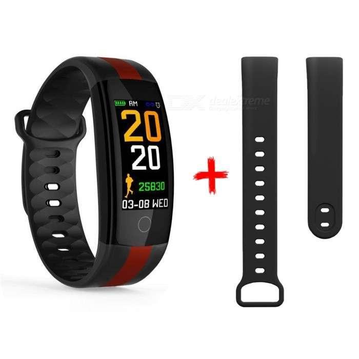 Фитнес браслет QS01 цветной дисплей тонометр давления крови iPhone и Android черный с дополнительным ремешком