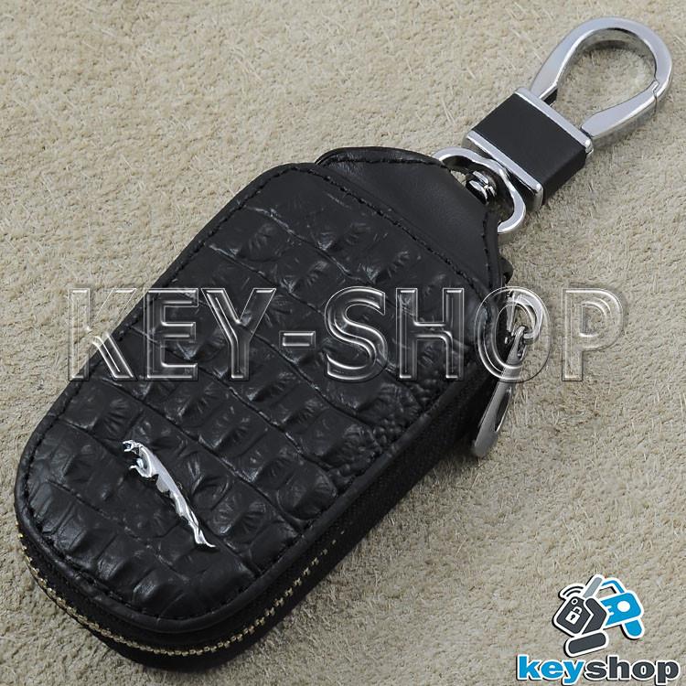 Ключница карманная (кожаная, черная, с тиснением, на молнии, с карабином) логотип авто Jaguar (Ягуар)