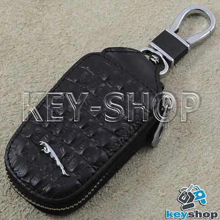 Ключница карманная (кожаная, черная, с тиснением, на молнии, с карабином) логотип авто Jaguar (Ягуар) , фото 2