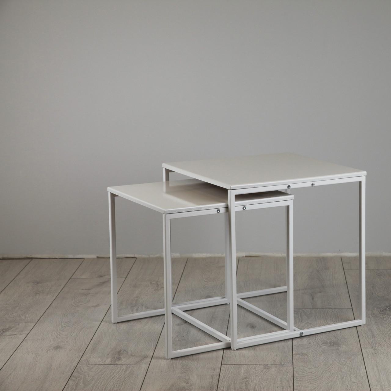 Комплект столов журнальных Куб 400 и Куб 450 - Жемчужный / белый (Loft Cub White-white)