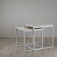 Комплект столов журнальных Куб 400 и Куб 450 - Жемчужный / белый (Loft Cub White-white), фото 1