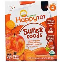 """Nurture Inc. (Happy Baby), Суперпродукт из серии """"Счастливый карапуз"""", органическая фруктово-овощная смесь c органическим яблоком, бататом, морковью и"""