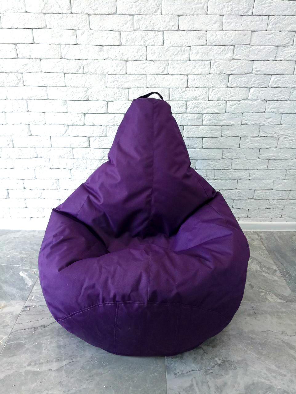 Бескаркасное Кресло мешок груша пуфик фиолетовый XL (120х75) оксфорд 600