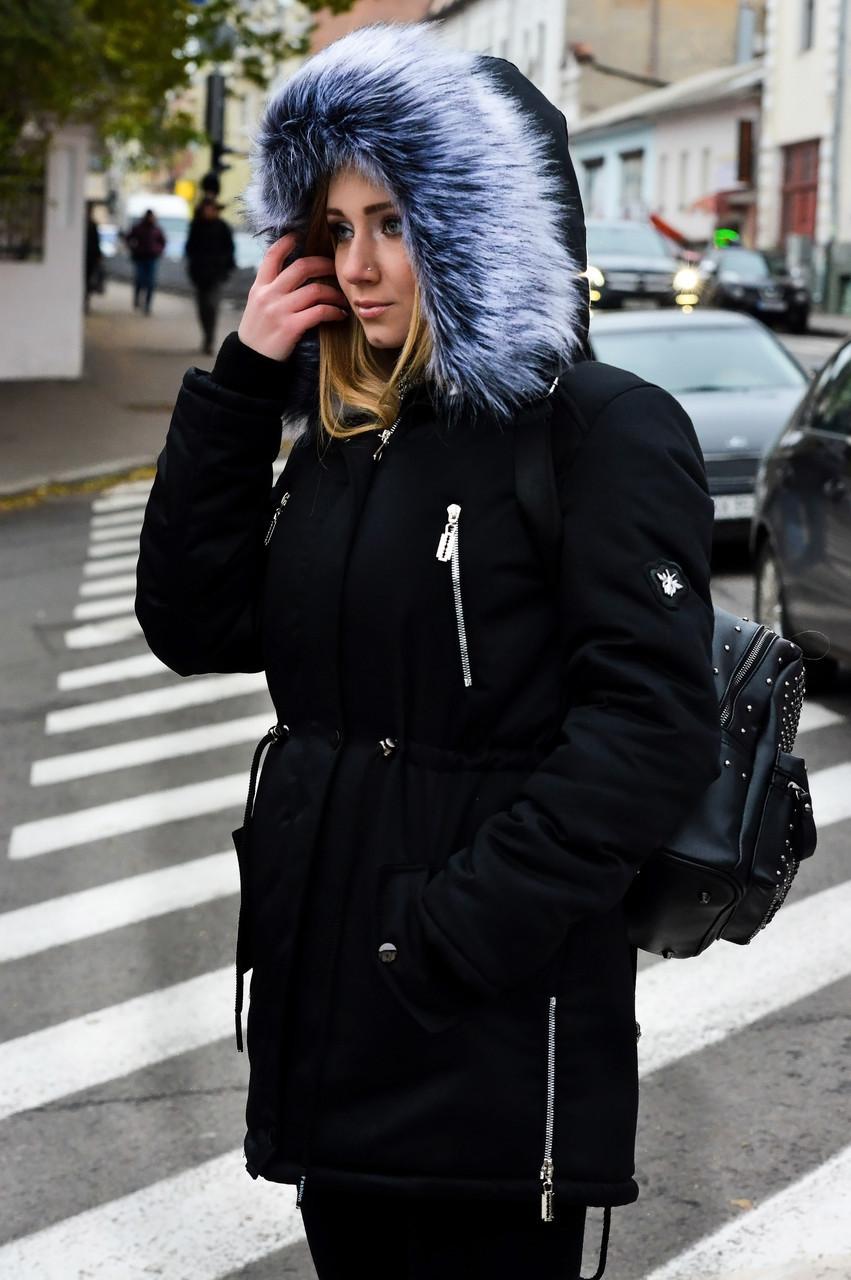 Зимняя женская куртка парка на меху черная