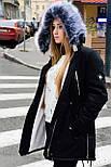 Зимняя женская куртка парка на меху черная , фото 2