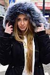 Зимняя женская куртка парка на меху черная , фото 3