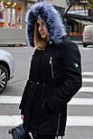 Зимняя женская куртка парка на меху черная , фото 4