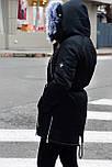 Зимняя женская куртка парка на меху черная , фото 6