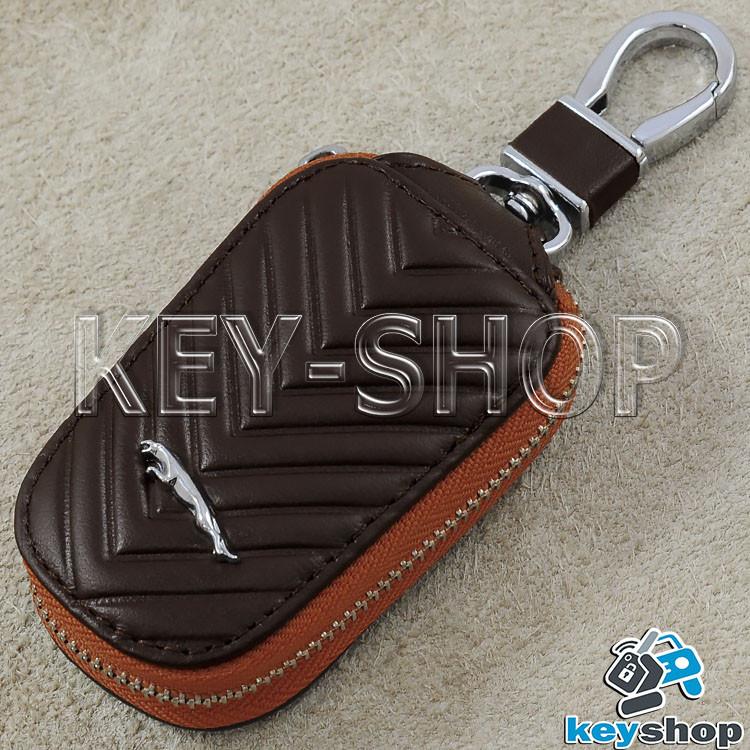Ключница карманная (кожаная, коричневая, с тиснением, на молнии, с карабином) логотип авто Jaguar (Ягуар)
