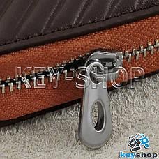 Ключница карманная (кожаная, коричневая, с тиснением, на молнии, с карабином) логотип авто Jaguar (Ягуар) , фото 2