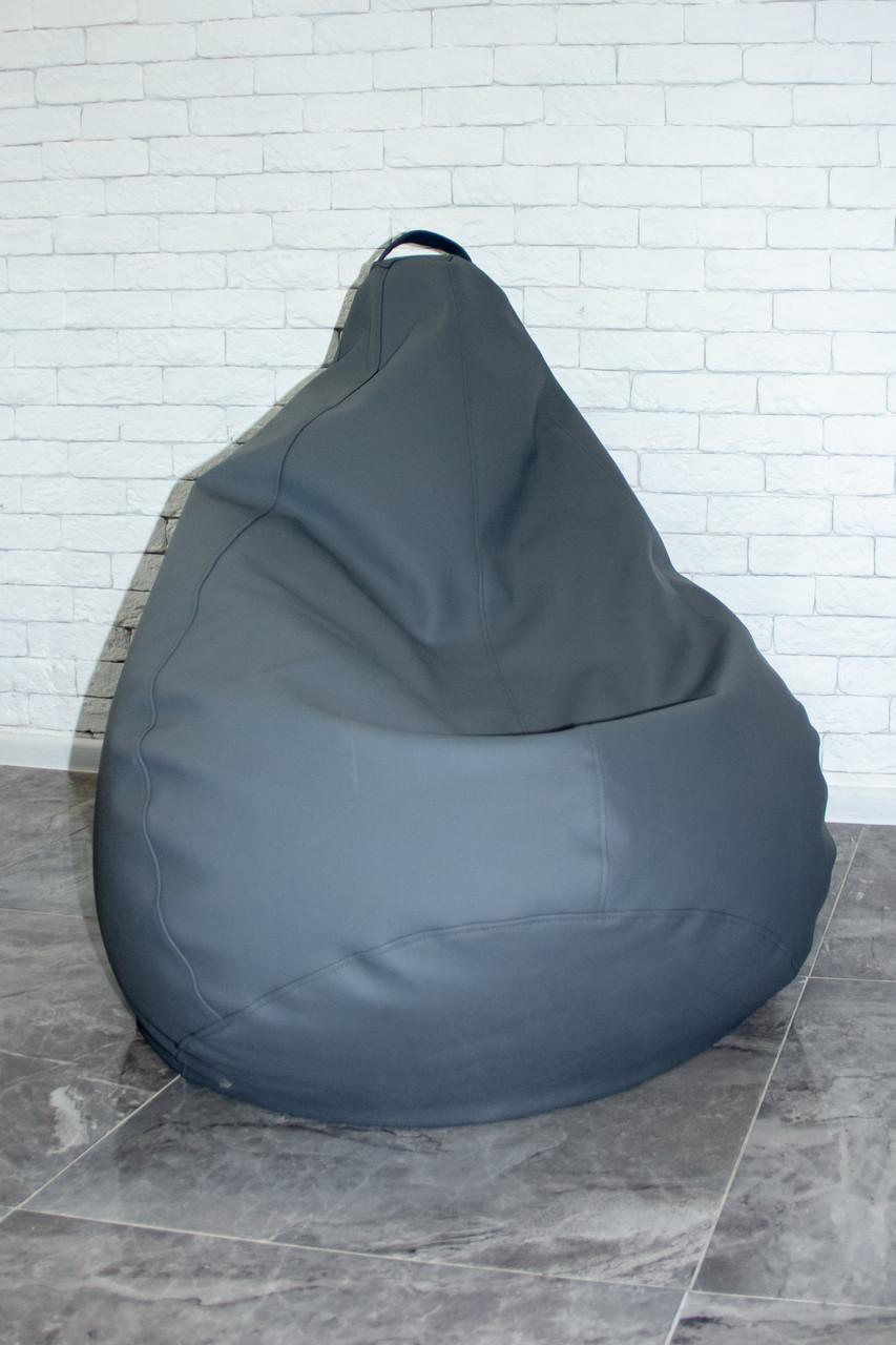 Бескаркасное Кресло мешок груша пуфик XL кожаное серебро