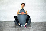 Бескаркасное Кресло мешок груша пуфик XL кожаное серебро, фото 4