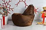 Кресло мешок груша пуф набор  коричневого цвета, фото 4