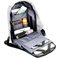 Рюкзак Bobby антивор для ноутбука. Портфель городской  СЕРЫЙ, фото 3