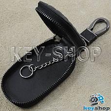 Ключница карманная (кожаная, черная, на молнии, с карабином), логотип авто Mercedes (Мерседес) , фото 3