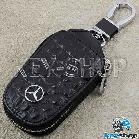 Ключница карманная (кожаная, черная, на молнии, с карабином), логотип авто Mercedes (Мерседес) , фото 2