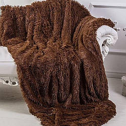 Пухнастий Плед - травичка, Євро, коричневий