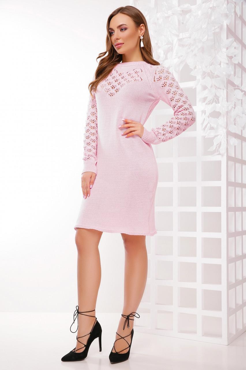 Женское вязаное пудровое платье, размер 44-48