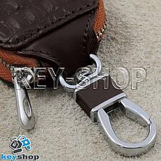 Ключниця кишенькова (шкіряна, біла, на блискавці, з карабіном), логотип авто Mercedes (Мерседес), фото 3
