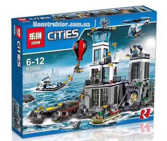 """Конструктор Lepin 02006 """"Остров-тюрьма"""" Сити, 815 деталей. Аналог LEGO City 60130"""