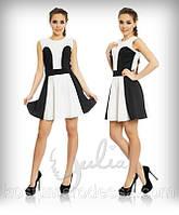 Платье без рукава черно-белое трикотажное