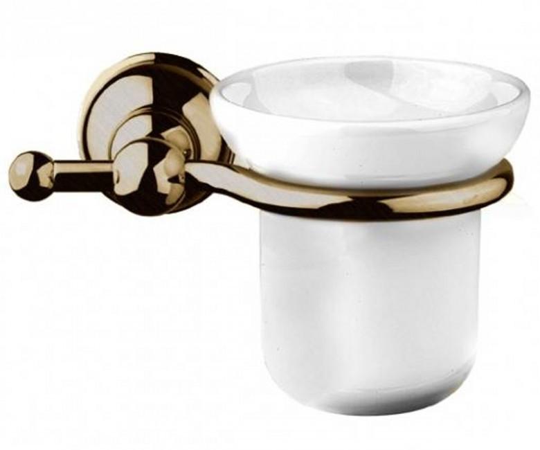 Подвесной стакан для зубных щеток Gessi Natura 4788-140 бронза, белая керамика