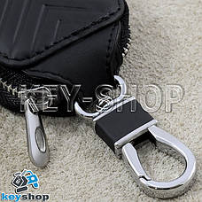 Ключниця кишенькова (шкіряна, чорна, на блискавці, з карабіном), логотип авто Mercedes (Мерседес), фото 3