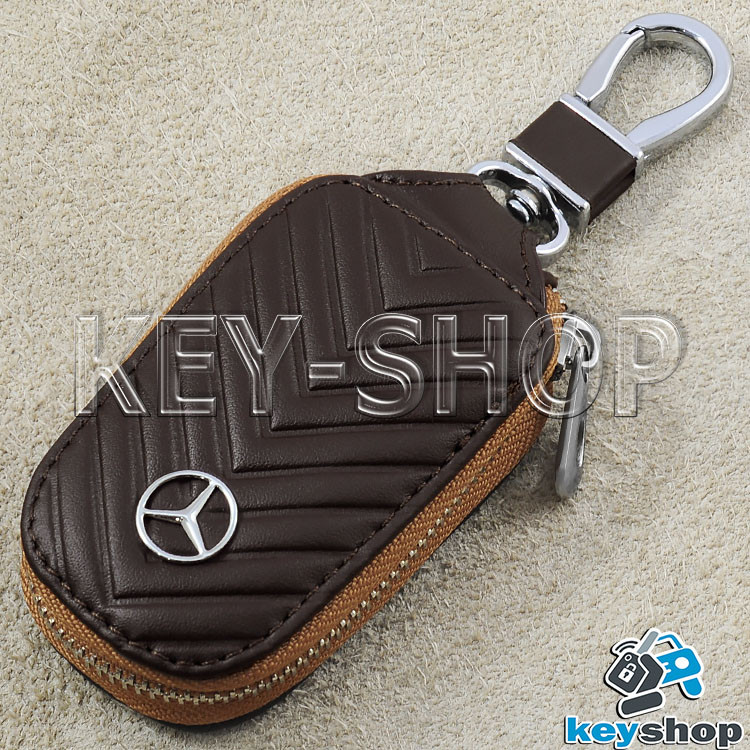 Ключница карманная (кожаная, коричневая, на молнии, с карабином), логотип авто Mercedes (Мерседес)