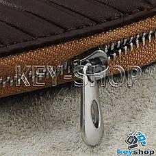 Ключница карманная (кожаная, коричневая, на молнии, с карабином), логотип авто Mercedes (Мерседес) , фото 2
