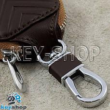 Ключница карманная (кожаная, коричневая, на молнии, с карабином), логотип авто Mercedes (Мерседес) , фото 3