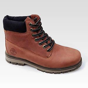 Мужские зимние ботинки Timberland из натуральной кожи коричневые