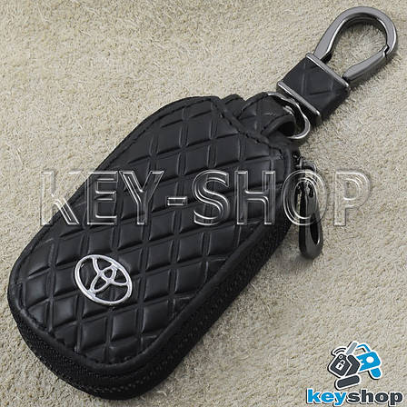 Ключница карманная (кожаная, черная, с тиснением, на молнии, с карабином), логотип авто Toyota (Тойота) , фото 2